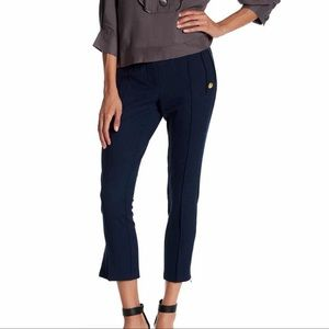 Zip Hem Cropped Length Pants- dark blue